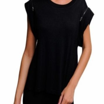 Zaria -- Black Shoulder Zipper Shirt