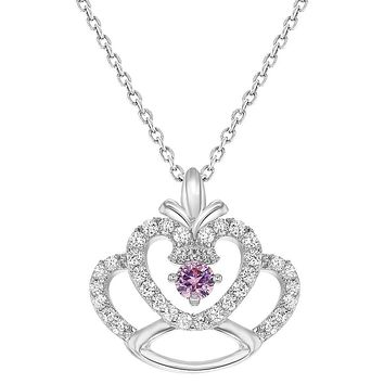 """Rhodium Plated Princess Crown Pendant Pink Clear Crystal Girls Kids Necklace 16"""""""