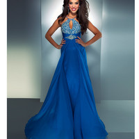 Mac Duggal Prom 2013- Ocean Blue Chiffon Halter Gown With Embellishments - Unique Vintage - Cocktail, Pinup, Holiday & Prom Dresses.