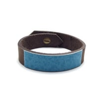 Colorblock Leather Cuff, Turquoise and Chocolate, Simple, Minimalist, Modern, Slim, any size, small, medium, large, s m l xl xs