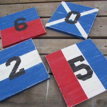 Reclaimed Wood Nautical Flags. Set of 4 Custom flags.  Sea Wood Sign. Nautical Sea Wood flags.9 Inch wood Nautical flags Made to Order