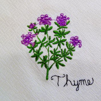 Thyme Jan de Luz Carmel By The Sea Embroidered Kitchen Towel  Made USA