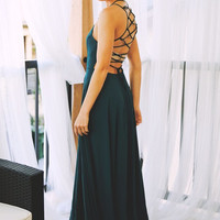 No Strings Attached Lace Up Back Maxi Dress - Emerald
