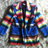 HOLIDAY SALE! vintage Mexican rainbow serape blazer jacket coat