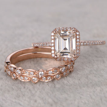 3pcs Emerald Cut Moissanite Engagement Rings Diamond Wedding Sets Rose Gold Half Eternity Art Deco Antique Stacking 14K/18K