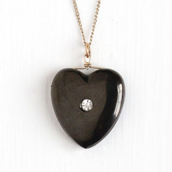 Antique Victorian Jet Rhinestone Heart Pendant - Vintage Late 1800s Era Fob Necklace Gold Filled Mourning Sentimental Jewelry