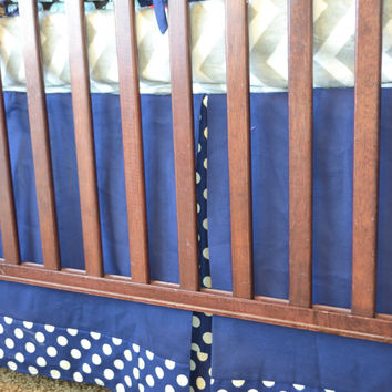 Crib Skirt, Navy Blue and Polka Dot Trim, Box Pleat,  Pleated Dust Ruffle, Made to Order