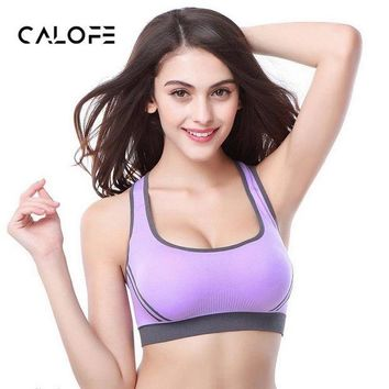 DCCKKFQ CALOFE  Sports Bra Women Back Cross Wirefree Paddee Crop Top Bra For Yoga Running Athletic Gym Vest Women Fitness Yoga Bra Tops