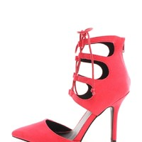 Fuchsia Lace Up And Chic Pointed Toe Pumps | $10.99 | Cheap Trendy Heels and Pumps Chic Discount Fas