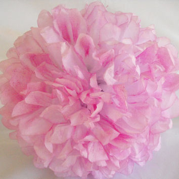Light Fuchsia Pom / Fuchsia Wedding Decoration  / Baby Girl Nursery Decoration / Pink Tissue Paper Pompom, Hand Dyed Poms, Pink Pompom