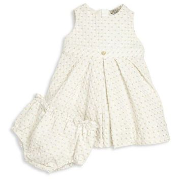NOV9O2 Armani Baby Girls Fancy Light Dress with Bloomers
