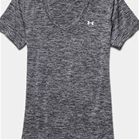 Gliks - Under Armour Novelty Tech V-neck T-Shirt for Women in Heather Grey