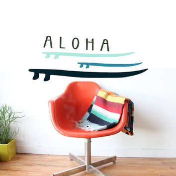 Hawaiian Londboard Surfboard Surf Art - Aloha Sticker Wall Decal - Paradise Inspired - Vinyl Removable Surface Graphics By 3rd Ave Shore