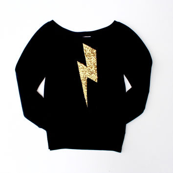 Harry Potter Sequin Lightning Bolt Patch Sweatshirt Jumper