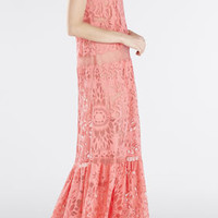 Pink BCBG Melannie Strapless Bottom-Ruffle Gown