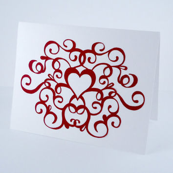Anniversary Card, Flourish Heart Card, Red & White Love Card, Blank note card, wedding card, handmade