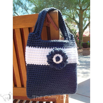 Blue and White Daisy Hand Bag PDF Pattern