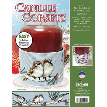 "Birds On A Branch (14 Count) Janlynn Candle Corsets Plastic Canvas Kit 10.875""X2.5"""