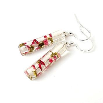 Heather Flower Earrings, Real Red Flowers in Resin Drop Earrings, Heather Jewelry, Resin Jewelry, Floral Flower Botanical Jewellery (1492)