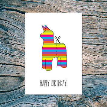 HAPPY BIRTHDAY cut here folded note card by nearmoderndisaster