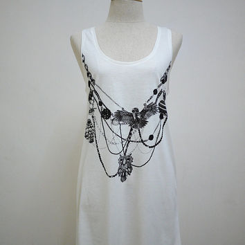 Owls Necklaces : Owls Necklaces Jewelry Art Modern Fashion Tank Women T-Shirt White T-Shirt Screen Print Cotton