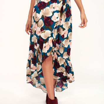 Adriana Blue Floral Print Ruffle High-Low Skirt