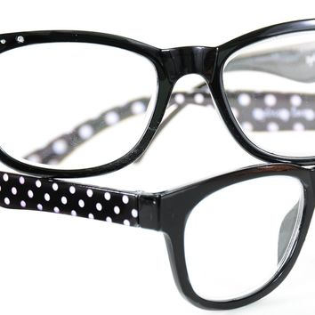 Sydney Love 2 Pairs Reading Glasses Black Polka Dots Readers +2.50