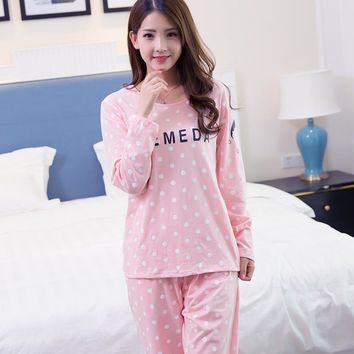 2016 new arrival cotton material women pajamas polka dot simple lovely pink blue pajama sets for girls casual pijamas mujer XXXL