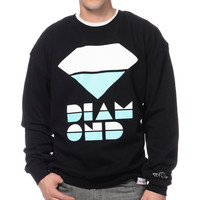 Diamond Supply Retro Black & Mint Crew Neck Sweatshirt