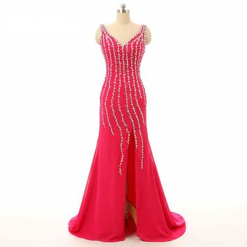 Charming Pink Beaded Long Evening Dress New Arrival Formal Gowns With Slit Backless Party Dress