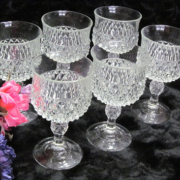 Indiana Glass Diamond Point Wine Water Goblets Set of 6