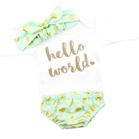 Newborn Take Home | Hello World | Mint & Gold Dot