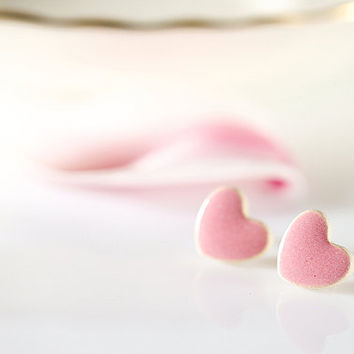 "Pink heart earrings Heart stud earrings Ceramic studs 10mm earrings 0.4"" Ceramic stud earrings sterling silver posts Clay studs clay jewelry"