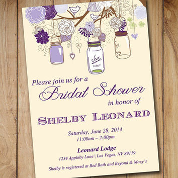 Rustic Bridal Shower Invitation Template - Mason Jar Wedding Shower Template Eggplant Lavender Purple Green Ivory Shower Invitation Download