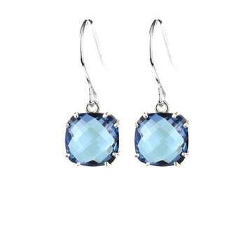 Suzanne Kalan Sterling Silver12mm Round 8.5 cttw Blue Topaz Drop Earrings