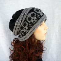 Hand knit Slouch hat with skulls in black and gray by NingNingGong