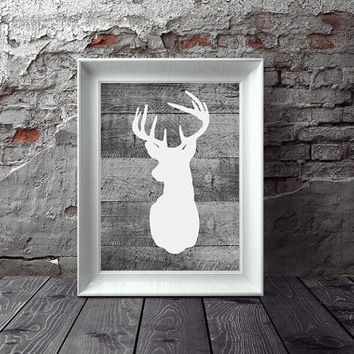Barn Wood White Deer Head Silhouette Digital Wall Art -- Deer Antlers Printable 8 x 10 Rustic Living Room Family Room Den Instant Download
