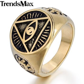 Trendsmax Men's ring Illuminati pyramid eye symbol gold silver color 316L stainless steel ring jewelry for men HR365