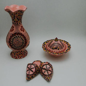 Handmade Vase , Sugar Bowl and Mini Sandal Set ,Fast Free Shipping, 3 in 1 , Special offer for Mothers Day