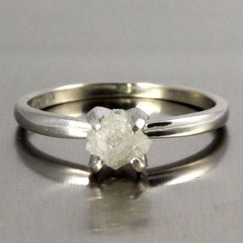 14K White Gold Ring - Prong-Set Rough Diamond Engagement Ring - White Raw Uncut Diamond Solitaire Ring - April Birthstone