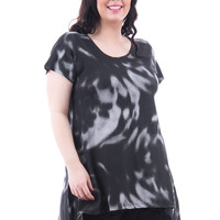 Black and Grey Side Dipped Hem Tunic Available in Plus Sizes-Black/Grey-UK 18 - EU 46