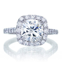 18K White Gold Diamond Halo Cushion Cut Moissanite Diamond Solitaire Engagement Ring