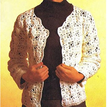 Crochet Pattern Vintage 70s CROCHET SWEATER PATTERN crochet Hat Pattern Crochet Jacket Pattern Crochet Cardigan Pattern Instant Download