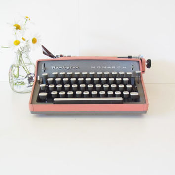 pink typewriter working vintage typewriter working typewriter remington typewriter monarch 1960 midcentury mid century decor french paris