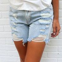 Torn To Shreds Distressed Oversized Boyfriend Denim Shorts