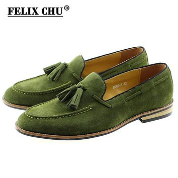 Men Fashion Loafer Genuine Suede Leather Dress Shoes With Tassel Slip On Wedding Party Men's Moccasin