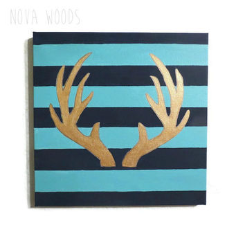 Canvas Painting, Striped Canvas, Antler Canvas, Blue Canvas, Gold Canvas, Teal Canvas, Antler Painting, Striped Painting, Navy Blue Painting