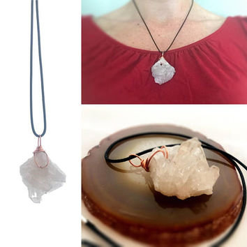 Raw Crystal Necklace, Crystal Cluster, Cluster Necklace, Quartz Necklace, Festival Necklace, Metaphysical Jewelry, Good Vibes, Reiki Jewelry
