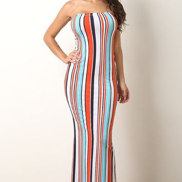 Vertical Striped Tube Maxi Dress