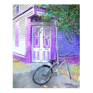 New Orleans Whimsical Lavender Purple House with Bicycle Giclee Print 8x10 11x14 - Korpita